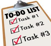 As palavras de tarefas lista as tarefas de transferência checkmark lembra gols — Foto Stock