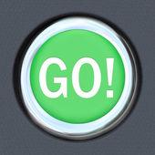 Vá em iniciar carro palavra verde botão avançar — Foto Stock