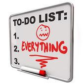 To-do lijst alles droog wissen boord overwerkte stress — Stockfoto