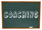 Coaching Word Chalkboard Teaching Learning Sports Education — Stock Photo