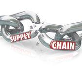łańcucha dostaw, niedziałające linki zerwał stosunki — Zdjęcie stockowe