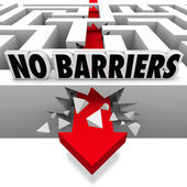 No Barriers Arrow Smashes Through Maze Walls Freedom — Stock Photo