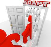 Adapt March Through Doorway Adapting to Change — Stock Photo