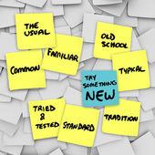Spróbuj czegoś nowego zmiany normalnego zwykle rządzi — Zdjęcie stockowe