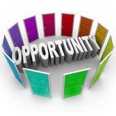 Opportunity Word Doors Open to Big Chance for New Future — Stock Photo