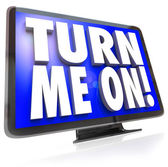 Turn Me On Words TV HDTV Television Watch Program — Stock Photo