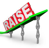 Pay Raise Word Increased Income Workers Lift Arrow — Stock Photo