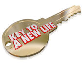 A New Life Gold Key Begin Fresh Restart Improvement — Stock Photo