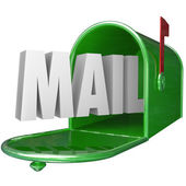 Mail Word Mailbox Postal Delivery New Message Communication — Stock Photo