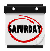 Saturday Word Circled Wall Calendar Weekend Reminder — Stock Photo