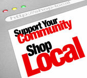 Support Your Community Shop Local Website Store Screen — Stock Photo