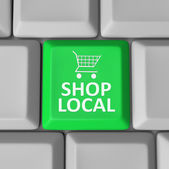 Shop Local Computer Key Shopping Cart Support Community — Stock Photo