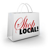 Shop Local Support Community Shopping Bag Words — Stock Photo