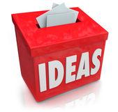 Idéer kreativ innovation förslagslåda samla tankar ide — Stockfoto