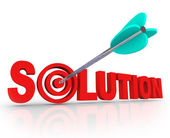 Solution Word 3D Letters Solved Problem Arrow Target Bulls-Eye — Stock Photo