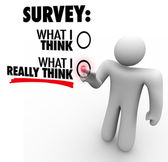 Survey - What I Really Think Answers Touch Screen Response — ストック写真