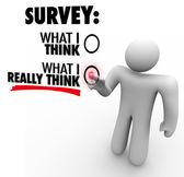 Umfrage - was ich glaube wirklich, dass antworten antwort bildschirm berühren — Stockfoto