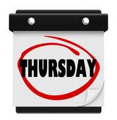 Thursday Day Wall Calendar Reminder Week Word Circled — Stock Photo