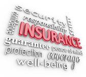 Pojištění slovo 3d koláže proteciton zabezpečení před nebezpečím — Stock fotografie