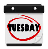 Tuesday Word Circled on Wall Calendar Day of Week — Stock Photo