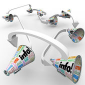 Info Bullhorns Megaphones Spreading Information Communication — Foto de Stock
