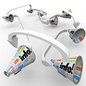 Informacji bullhorns megafony rozprzestrzeniania informacji komunikacie — Zdjęcie stockowe