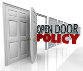 Otwarte drzwi polityki zarządzania słów zapraszamy komunikacji — Zdjęcie stockowe