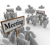 Many Meeting Groups Gathering Around Different Signs — Stock Photo