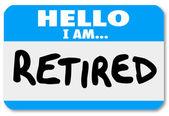 Olá, eu sou aposentado palavras etiqueta autocolante idoso — Foto Stock