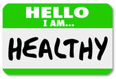 Hello I Am Healthy Words Nametag Sticker Physical Fitness — Stock Photo