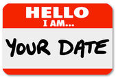 Hello I Am Your Date Words Nametag Sticker Romance Dating — Stock Photo