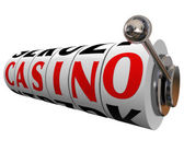 Casino Word Slot Machine Wheels Gambling Betting — Stock Photo