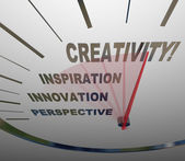 Creativity Innovation Imagination Speedometer New Ideas — Stock Photo