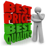 Buyer Person Thinking Best Price Vs Quality Choosing Priority — Stock Photo