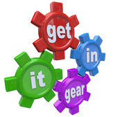 Get It In Gear Four Gears Turning to Start Process — Stock Photo