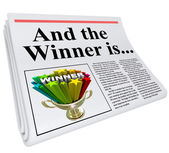 And the Winner Is Newspaper Headline Announcement Trophy — Stock Photo