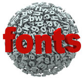 Fonts Word Typography Letters Sphere — Stock Photo