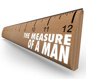 The Measure of a Man Wooden Ruler Words — Stock Photo