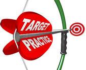 Objetivo practicar palabras arco y flecha preparación preparada — Foto de Stock