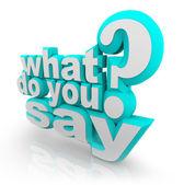 Vad säger du 3d illustrerade ord frågetecken — Stockfoto
