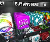 应用程序的自动售货机买购物下载的应用程序 — 图库照片