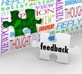 Feedback puzzle muro parole customer service survey — Foto Stock