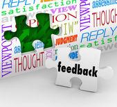 Feedback Puzzle Wall Words Customer Service Survey — Stock Photo