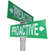Proactive Vs Reactive Two Way Road Signs Choose Action — Stock Photo
