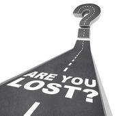 Palavras ponto de interrogação na confusão de pavimento de estrada perdida — Foto Stock