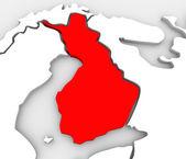 Finlandiya ülke soyut 3d harita avrupa i̇skandinavya kıta — Stok fotoğraf