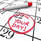 Your Day Words Calendar Special Date Circled Holiday Vacation — Stock Photo