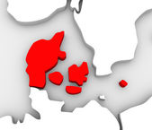 Denmark Country Abstract 3D Europe Map Scandinavia — Stok fotoğraf