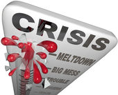 Crisis Thermometer Meltdown Mess Trouble Emergency Words — Stock Photo