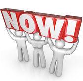 Team Lifting Now Word Urgent Reminder Deadline — Stock Photo